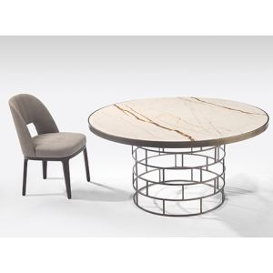 Marble rectangular dining table that seats 6. Stainless steel frame. Hong Kong furniture store